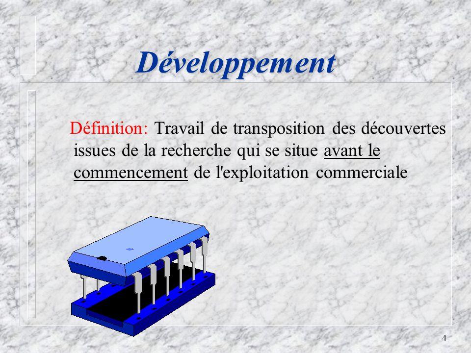 4 Développement Définition: Travail de transposition des découvertes issues de la recherche qui se situe avant le commencement de l exploitation commerciale