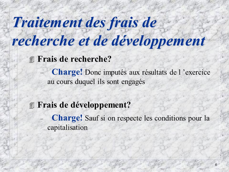 6 Traitement des frais de recherche et de développement 4 Frais de recherche.