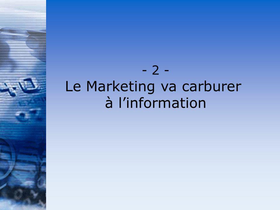 - 2 - Le Marketing va carburer à linformation