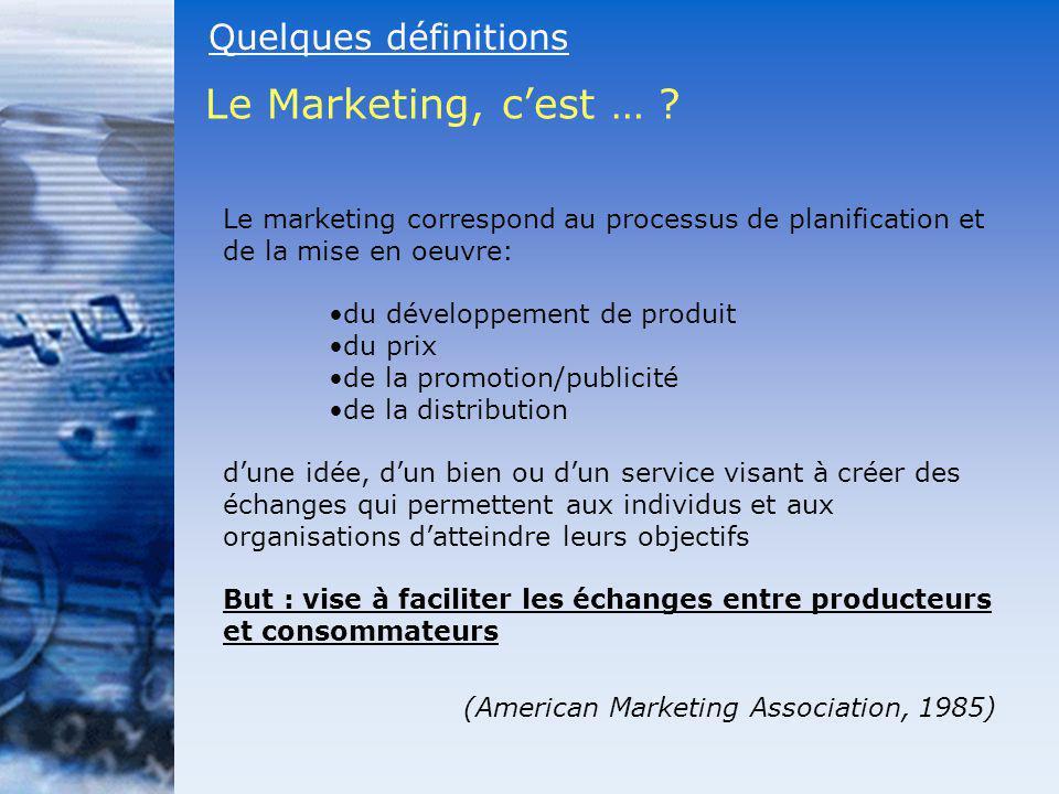 Quelques définitions Le Marketing, cest … ? Le marketing correspond au processus de planification et de la mise en oeuvre: du développement de produit