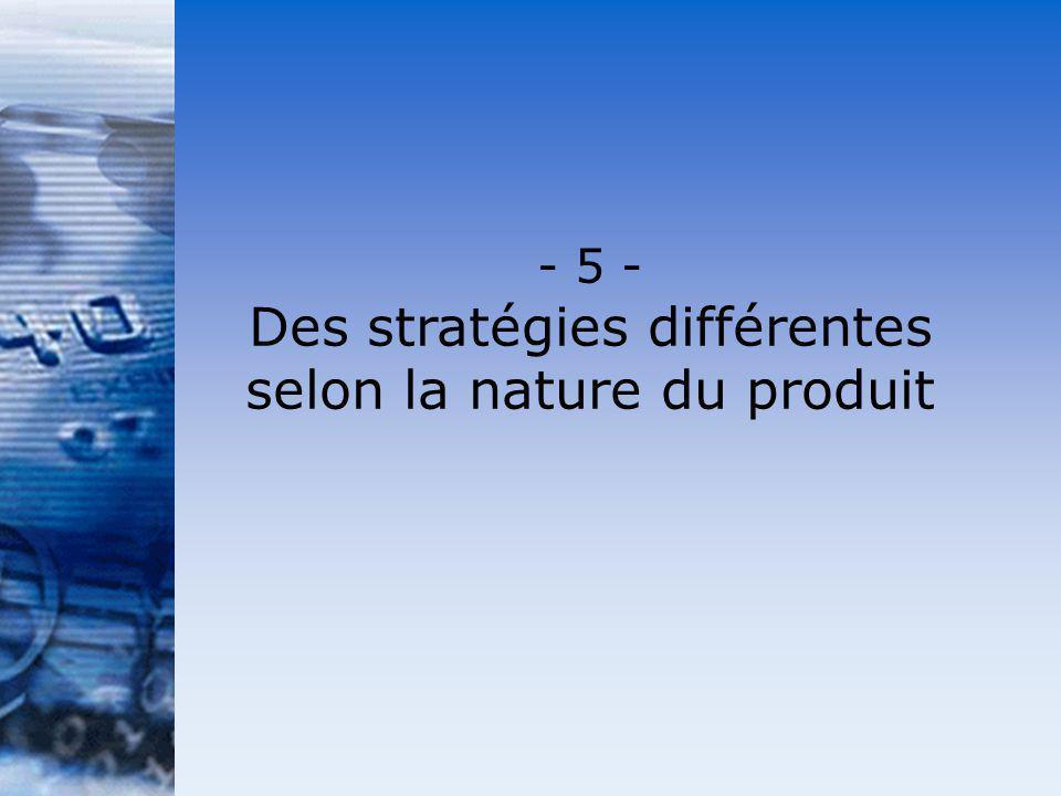 - 5 - Des stratégies différentes selon la nature du produit