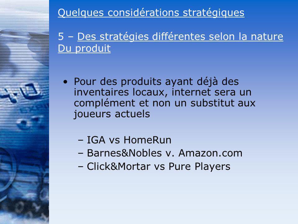 Pour des produits ayant déjà des inventaires locaux, internet sera un complément et non un substitut aux joueurs actuels –IGA vs HomeRun –Barnes&Noble