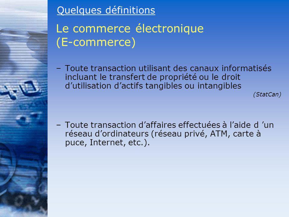 –Toute transaction utilisant des canaux informatisés incluant le transfert de propriété ou le droit dutilisation dactifs tangibles ou intangibles (Sta