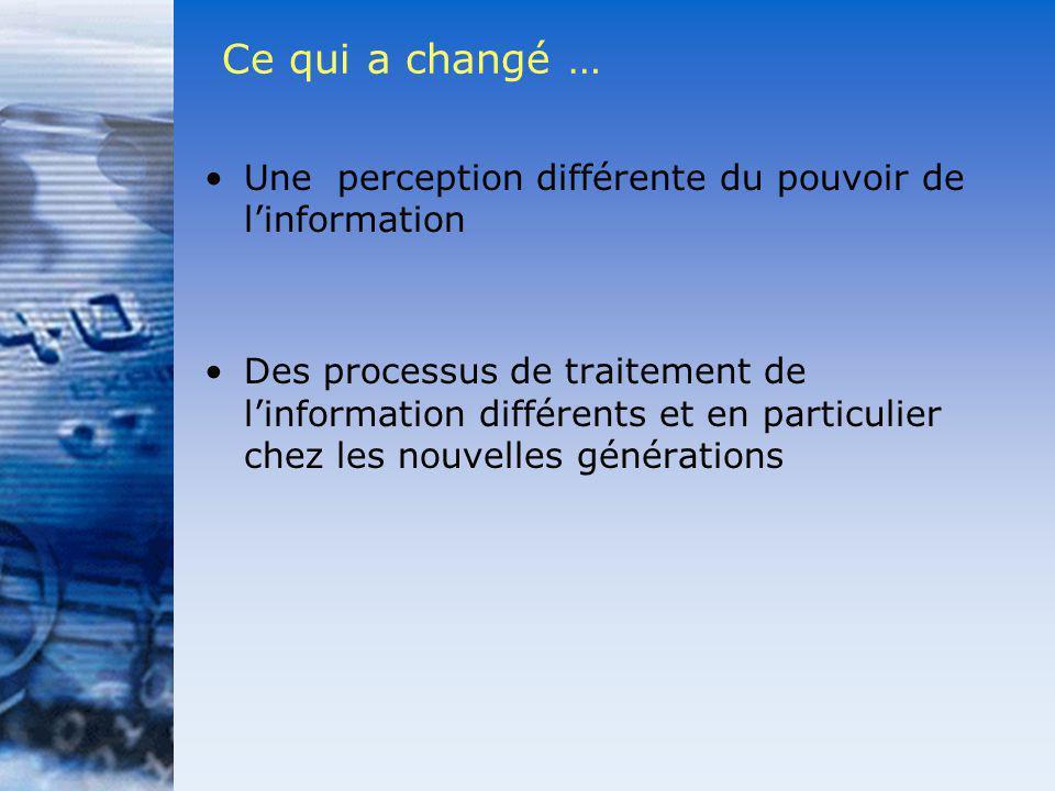 Ce qui a changé … Une perception différente du pouvoir de linformation Des processus de traitement de linformation différents et en particulier chez l