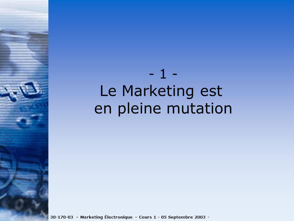 30-170-03 – Marketing Électronique – Cours 1 - 05 Septembre 2003 - - 1 - Le Marketing est en pleine mutation
