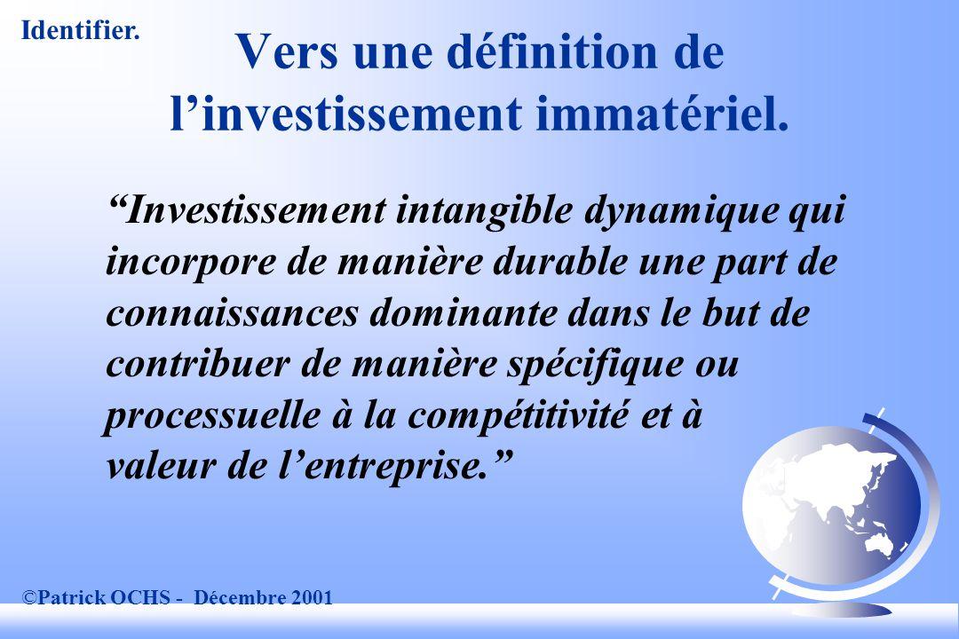 ©Patrick OCHS - Décembre 2001 Vers une définition de linvestissement immatériel.