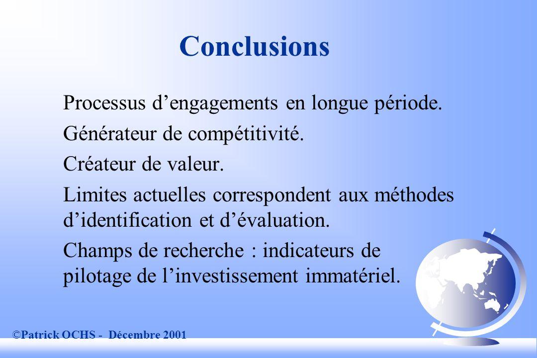 ©Patrick OCHS - Décembre 2001 Conclusions Processus dengagements en longue période.