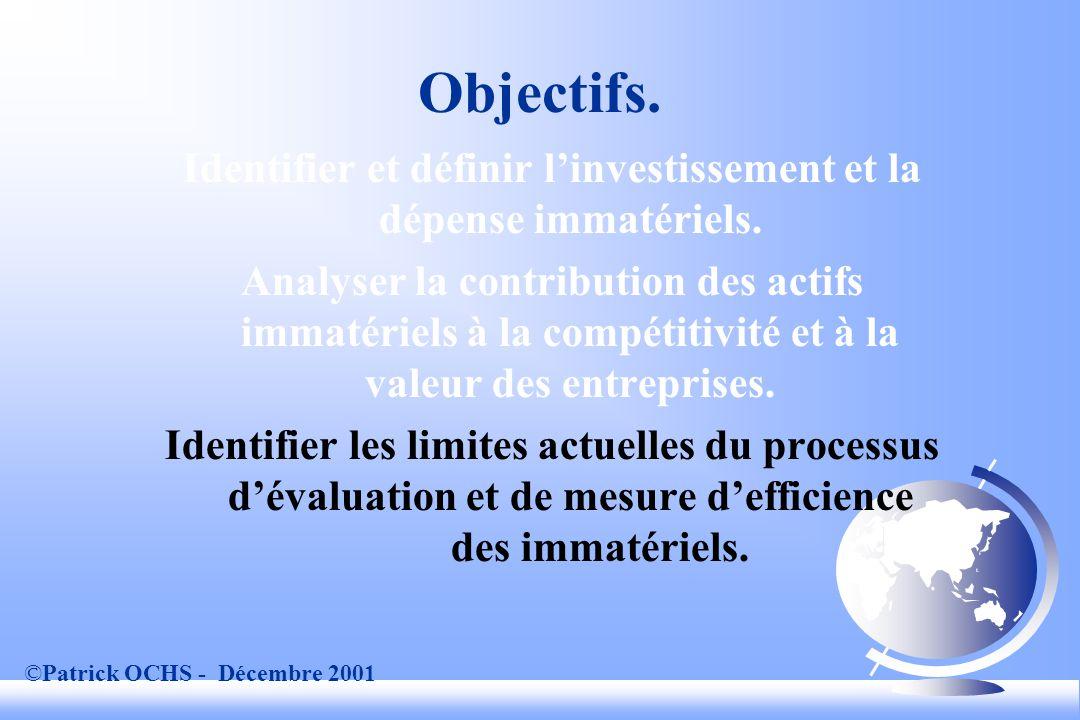©Patrick OCHS - Décembre 2001 Exemples dindicateurs de gestion de projets: exemple Buts.