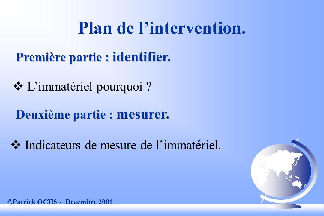 ©Patrick OCHS - Décembre 2001 Mesure de la valeur des immatériels.