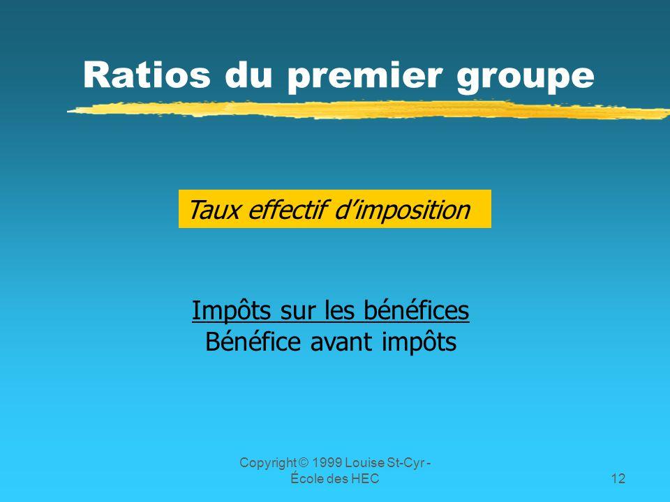 Copyright © 1999 Louise St-Cyr - École des HEC12 Ratios du premier groupe Taux effectif dimposition Impôts sur les bénéfices Bénéfice avant impôts