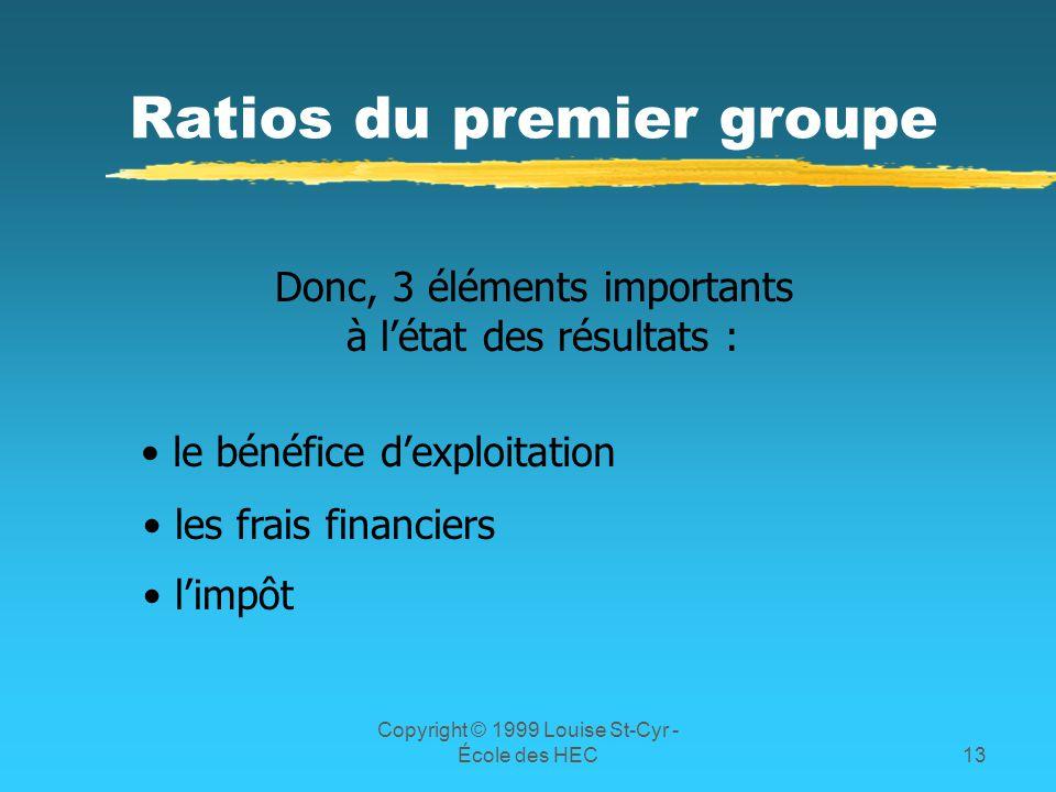 Copyright © 1999 Louise St-Cyr - École des HEC13 Ratios du premier groupe Donc, 3 éléments importants à létat des résultats : le bénéfice dexploitatio