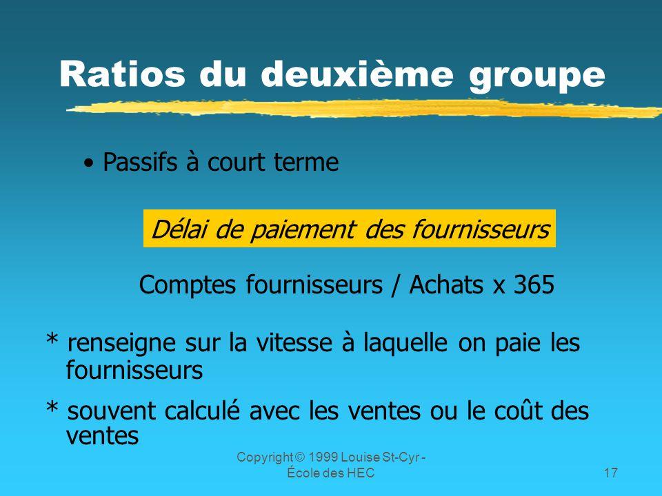 Copyright © 1999 Louise St-Cyr - École des HEC17 Ratios du deuxième groupe Passifs à court terme Délai de paiement des fournisseurs Comptes fournisseu