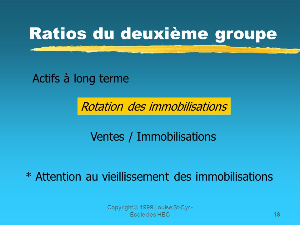 Copyright © 1999 Louise St-Cyr - École des HEC18 Ratios du deuxième groupe Actifs à long terme Rotation des immobilisations Ventes / Immobilisations *