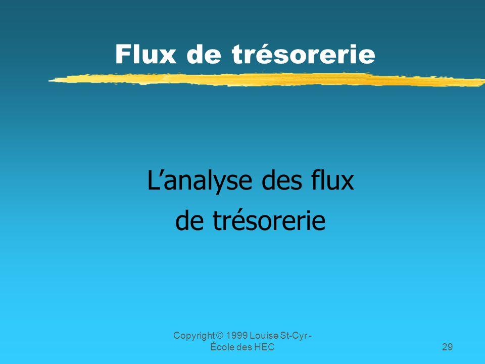Copyright © 1999 Louise St-Cyr - École des HEC29 Flux de trésorerie Lanalyse des flux de trésorerie