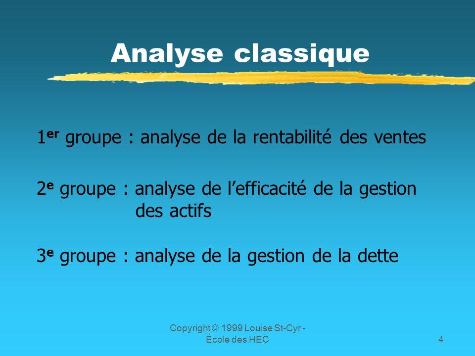 Copyright © 1999 Louise St-Cyr - École des HEC4 Analyse classique 1 er groupe : analyse de la rentabilité des ventes 2 e groupe : analyse de lefficaci