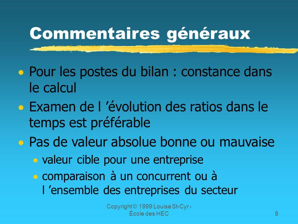 Copyright © 1999 Louise St-Cyr - École des HEC8 Commentaires généraux Pour les postes du bilan : constance dans le calcul Examen de l évolution des ra