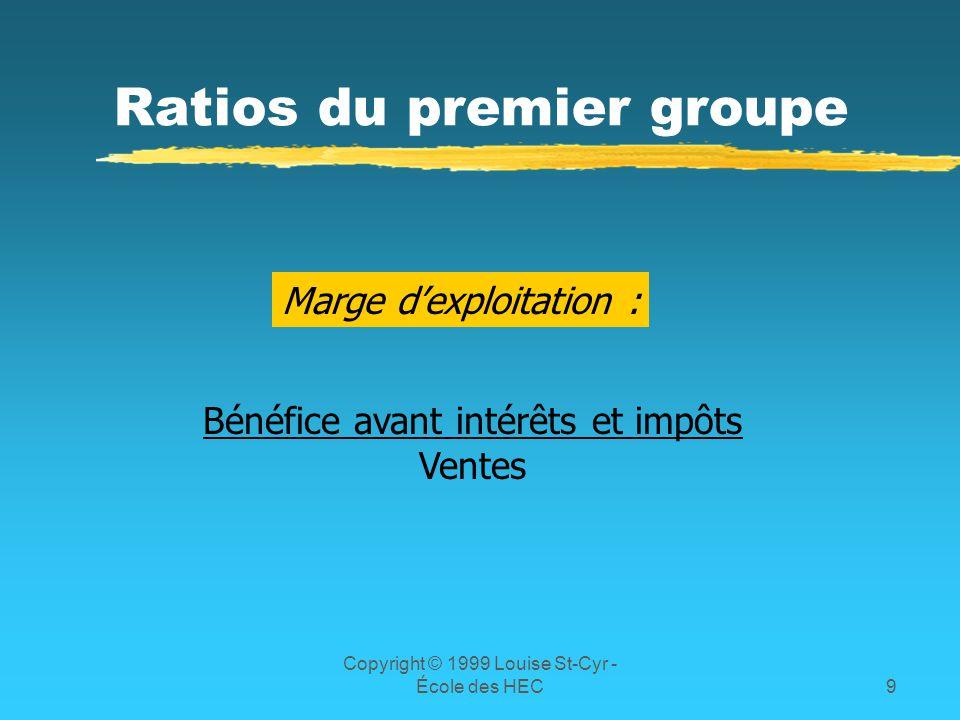 Copyright © 1999 Louise St-Cyr - École des HEC9 Ratios du premier groupe Marge dexploitation : Bénéfice avant intérêts et impôts Ventes