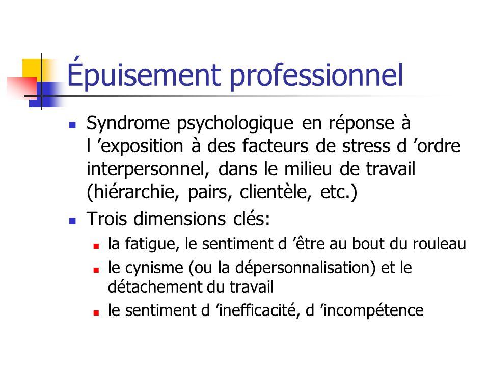Épuisement professionnel Syndrome psychologique en réponse à l exposition à des facteurs de stress d ordre interpersonnel, dans le milieu de travail (