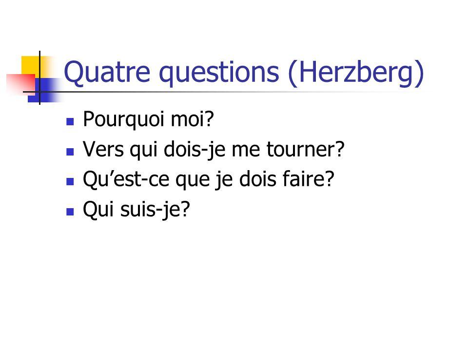 Quatre questions (Herzberg) Pourquoi moi? Vers qui dois-je me tourner? Quest-ce que je dois faire? Qui suis-je?