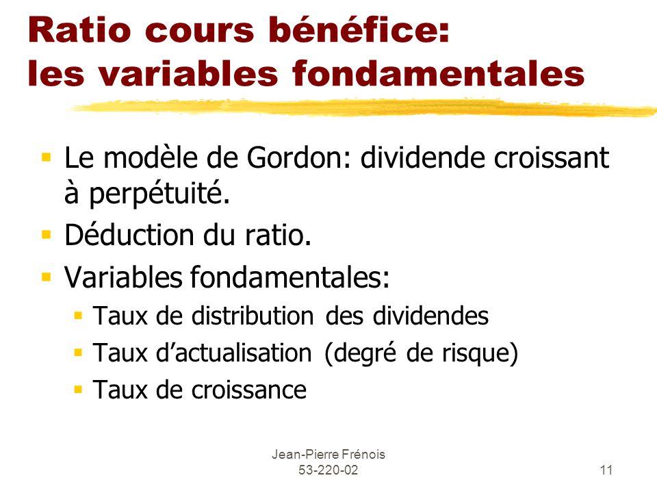 Jean-Pierre Frénois 53-220-0211 Ratio cours bénéfice: les variables fondamentales Le modèle de Gordon: dividende croissant à perpétuité.