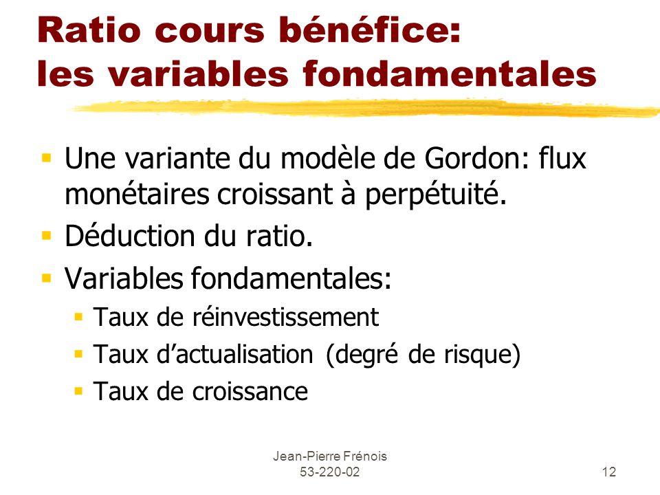 Jean-Pierre Frénois 53-220-0212 Ratio cours bénéfice: les variables fondamentales Une variante du modèle de Gordon: flux monétaires croissant à perpétuité.
