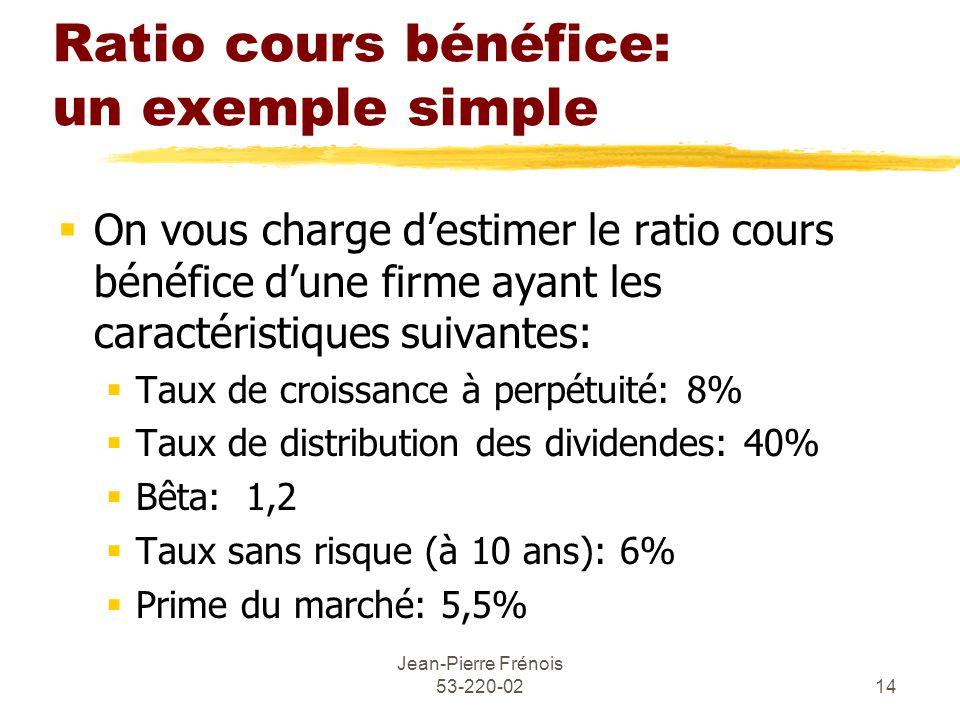 Jean-Pierre Frénois 53-220-0214 Ratio cours bénéfice: un exemple simple On vous charge destimer le ratio cours bénéfice dune firme ayant les caractéristiques suivantes: Taux de croissance à perpétuité: 8% Taux de distribution des dividendes: 40% Bêta: 1,2 Taux sans risque (à 10 ans): 6% Prime du marché: 5,5%