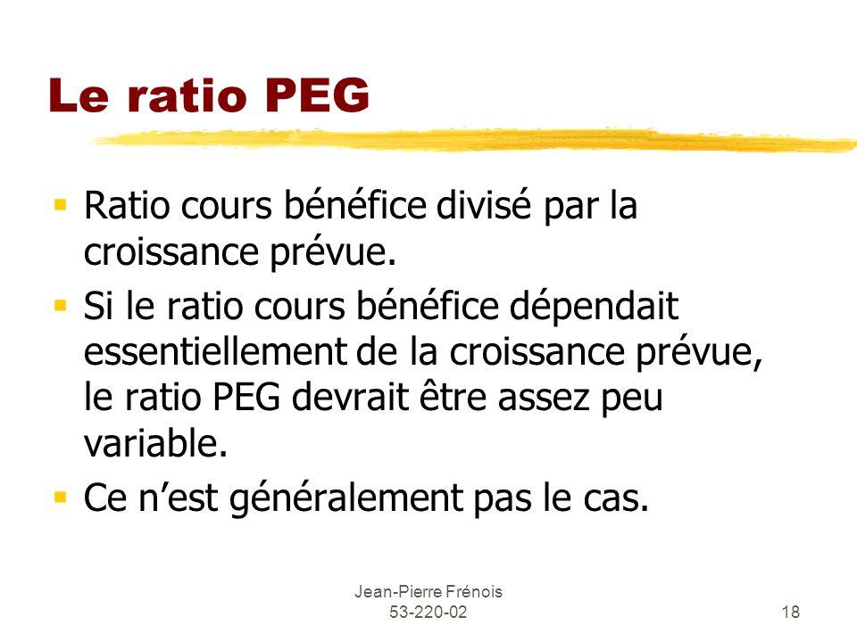 Jean-Pierre Frénois 53-220-0218 Le ratio PEG Ratio cours bénéfice divisé par la croissance prévue.