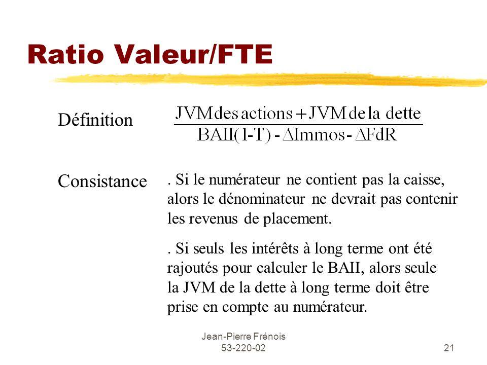 Jean-Pierre Frénois 53-220-0221 Ratio Valeur/FTE Définition Consistance.