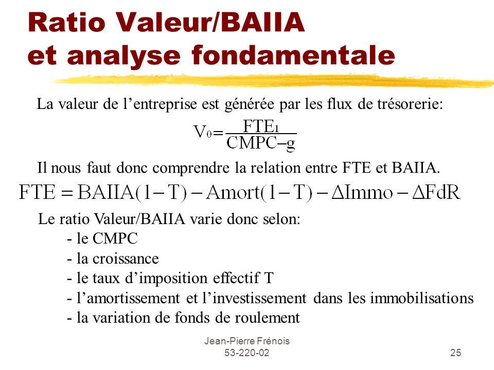 Jean-Pierre Frénois 53-220-0225 Ratio Valeur/BAIIA et analyse fondamentale La valeur de lentreprise est générée par les flux de trésorerie: Il nous faut donc comprendre la relation entre FTE et BAIIA.