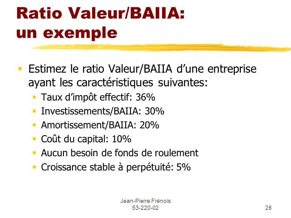 Jean-Pierre Frénois 53-220-0226 Ratio Valeur/BAIIA: un exemple Estimez le ratio Valeur/BAIIA dune entreprise ayant les caractéristiques suivantes: Taux dimpôt effectif: 36% Investissements/BAIIA: 30% Amortissement/BAIIA: 20% Coût du capital: 10% Aucun besoin de fonds de roulement Croissance stable à perpétuité: 5%