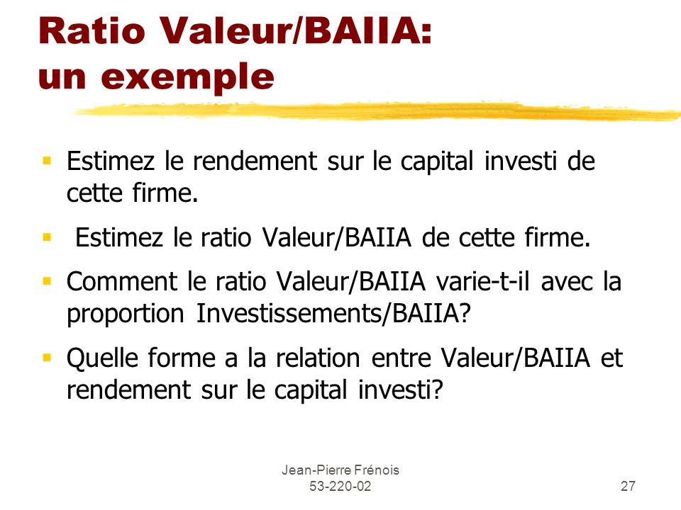 Jean-Pierre Frénois 53-220-0227 Ratio Valeur/BAIIA: un exemple Estimez le rendement sur le capital investi de cette firme.