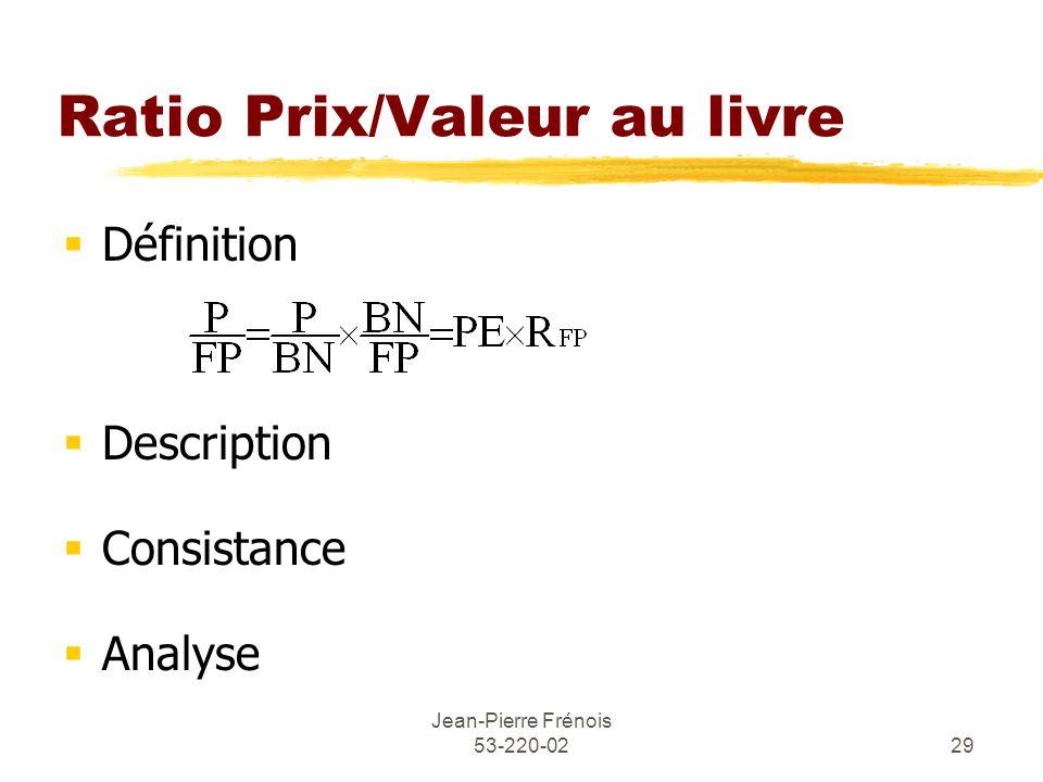 Jean-Pierre Frénois 53-220-0229 Ratio Prix/Valeur au livre Définition Description Consistance Analyse