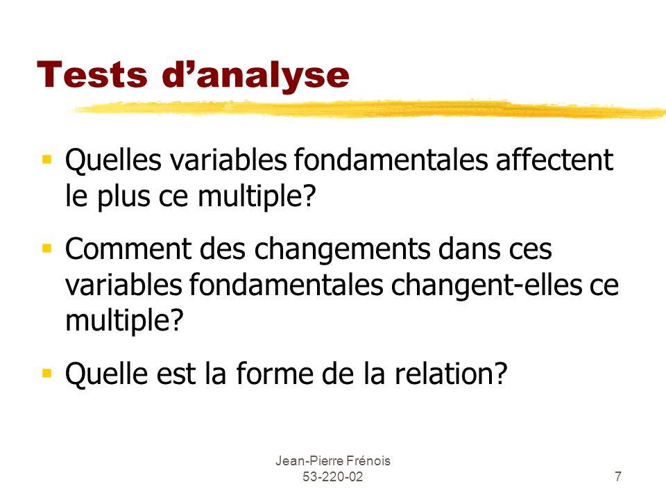 Jean-Pierre Frénois 53-220-027 Tests danalyse Quelles variables fondamentales affectent le plus ce multiple.