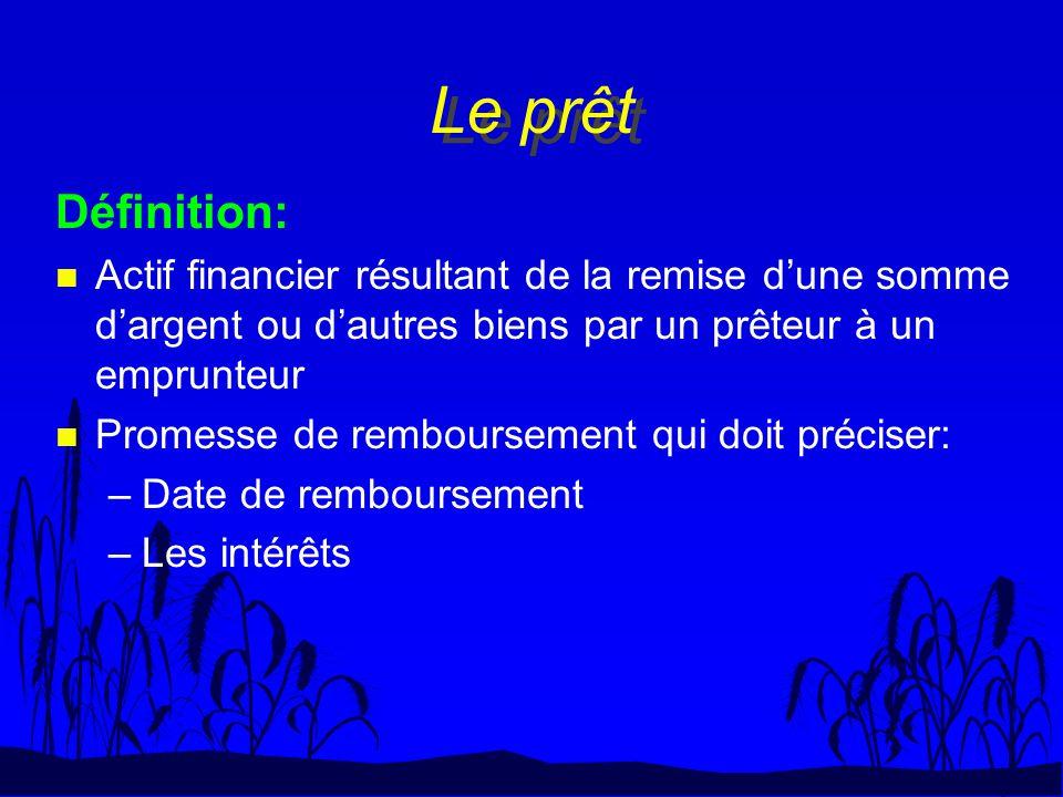 Le prêt Définition: n Actif financier résultant de la remise dune somme dargent ou dautres biens par un prêteur à un emprunteur n Promesse de rembours