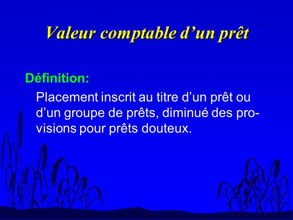 Valeur comptable dun prêt Définition: Placement inscrit au titre dun prêt ou dun groupe de prêts, diminué des pro- visions pour prêts douteux.