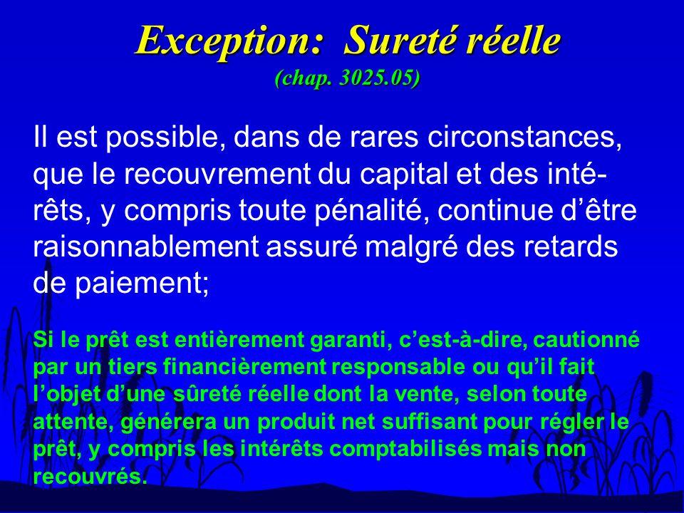 Exception: Sureté réelle (chap. 3025.05) Il est possible, dans de rares circonstances, que le recouvrement du capital et des inté- rêts, y compris tou