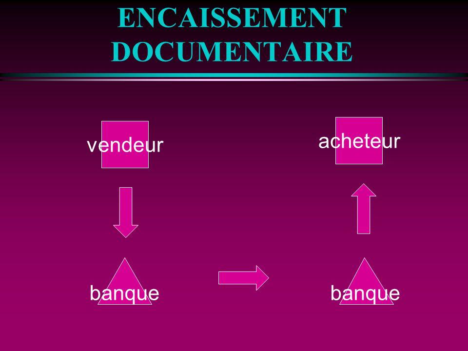 ENCAISSEMENT DOCUMENTAIRE vendeur acheteur banque
