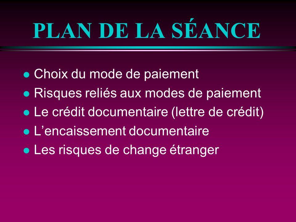PLAN DE LA SÉANCE l Choix du mode de paiement l Risques reliés aux modes de paiement l Le crédit documentaire (lettre de crédit) l Lencaissement docum