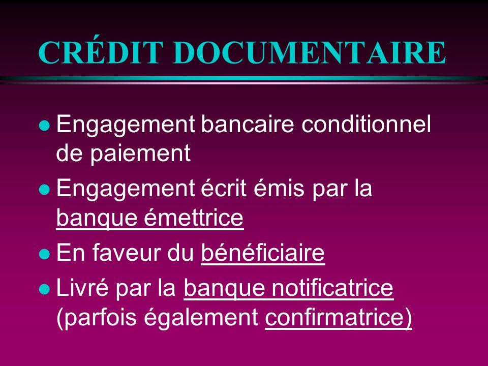 CRÉDIT DOCUMENTAIRE (suite) l À la demande et conformément aux instructions de lacheteur (donneur dordre) l Qui permet un paiement: n immédiat n à terme l Contre remise de documents prescrits