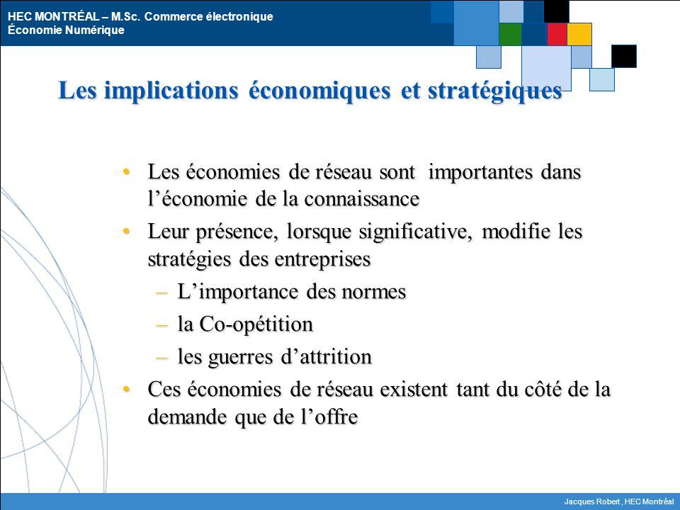 HEC MONTRÉAL – M.Sc. Commerce électronique Économie Numérique Jacques Robert, HEC Montréal Les implications économiques et stratégiques Les économies