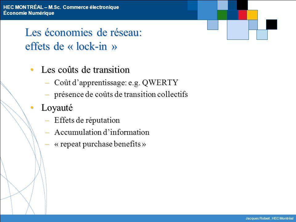 HEC MONTRÉAL – M.Sc. Commerce électronique Économie Numérique Jacques Robert, HEC Montréal Les économies de réseau: effets de « lock-in » Les coûts de