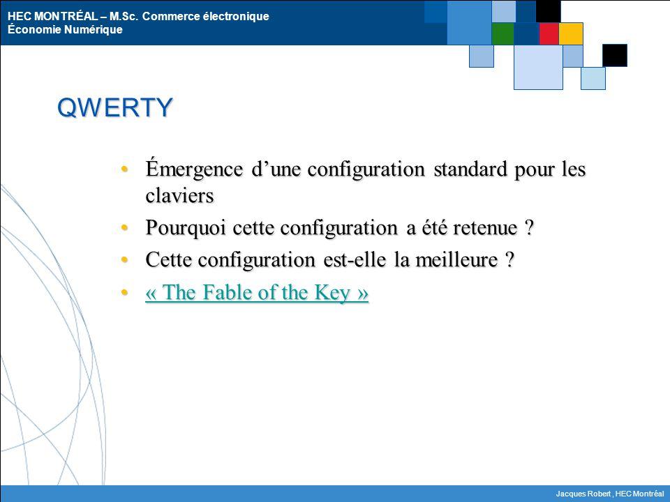 HEC MONTRÉAL – M.Sc. Commerce électronique Économie Numérique Jacques Robert, HEC Montréal QWERTY Émergence dune configuration standard pour les clavi