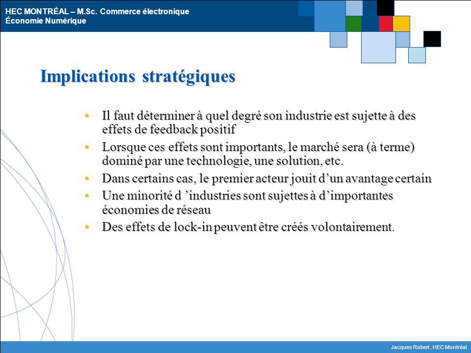 HEC MONTRÉAL – M.Sc. Commerce électronique Économie Numérique Jacques Robert, HEC Montréal Implications stratégiques Il faut déterminer à quel degré s