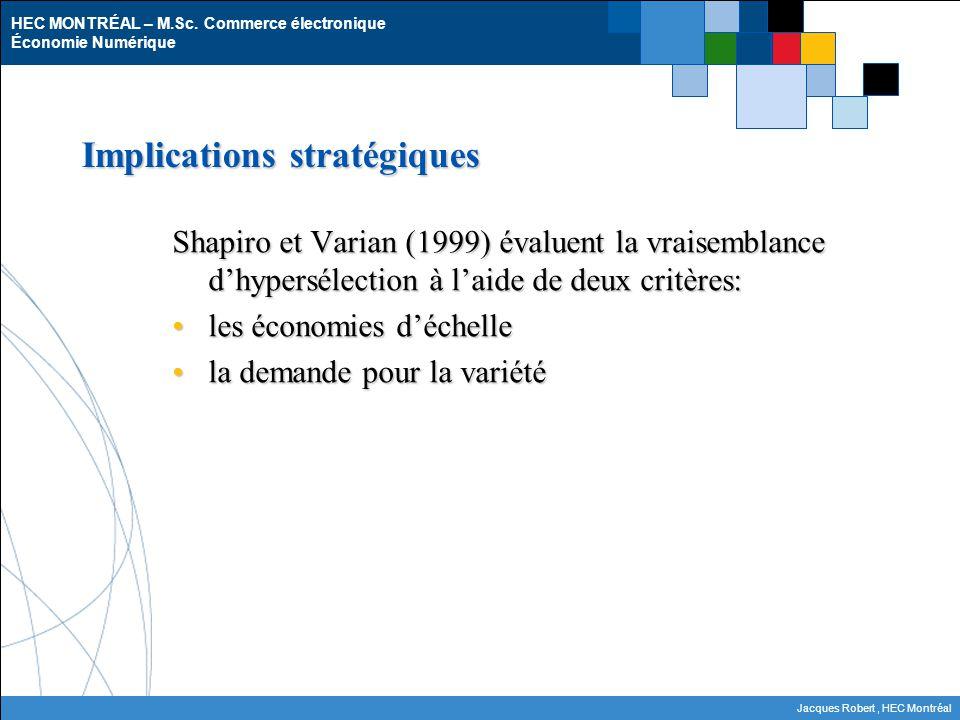 HEC MONTRÉAL – M.Sc. Commerce électronique Économie Numérique Jacques Robert, HEC Montréal Implications stratégiques Shapiro et Varian (1999) évaluent
