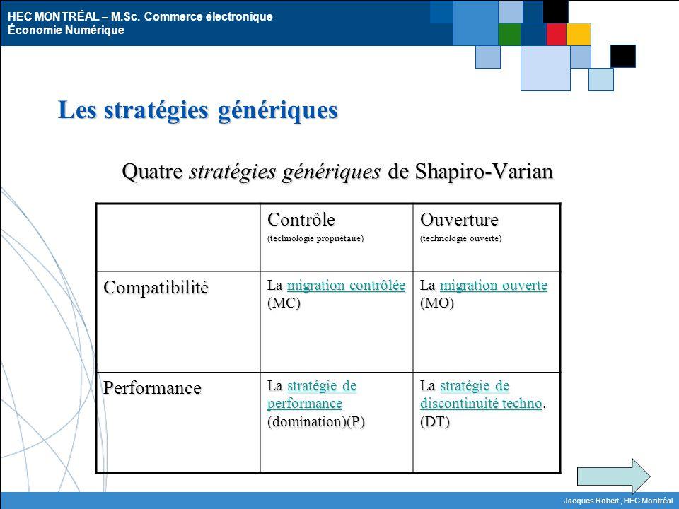 HEC MONTRÉAL – M.Sc. Commerce électronique Économie Numérique Jacques Robert, HEC Montréal Les stratégies génériques Quatre stratégies génériques de S