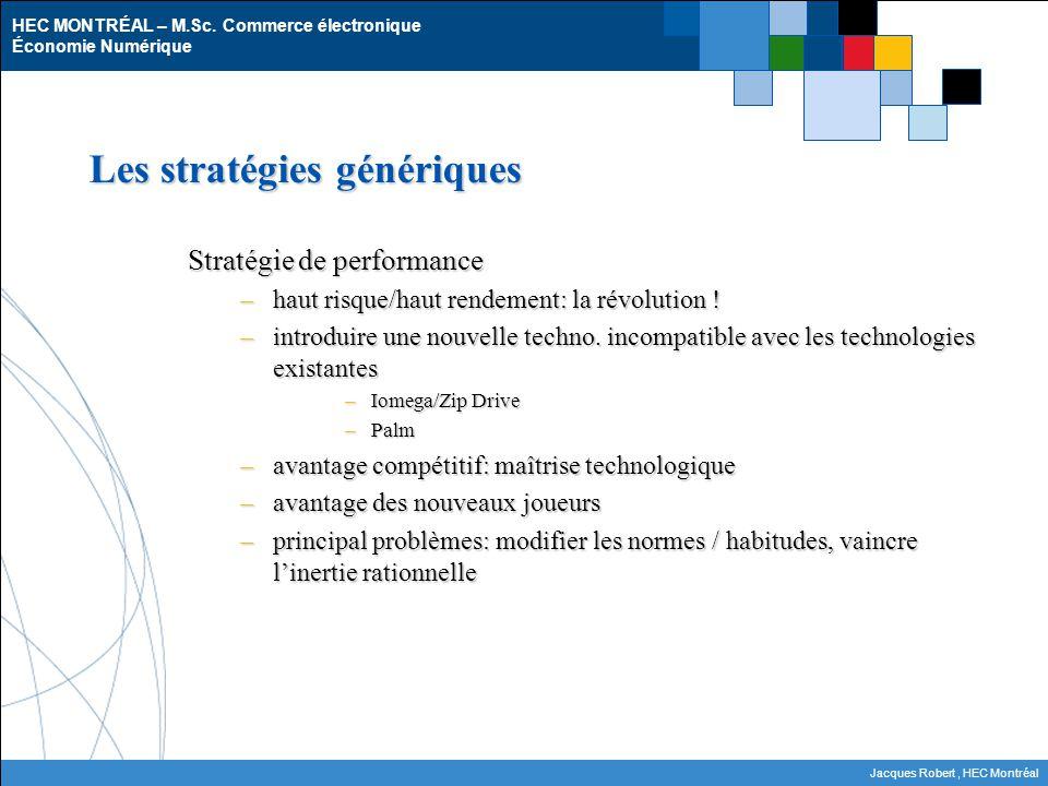 HEC MONTRÉAL – M.Sc. Commerce électronique Économie Numérique Jacques Robert, HEC Montréal Les stratégies génériques Stratégie de performance –haut ri