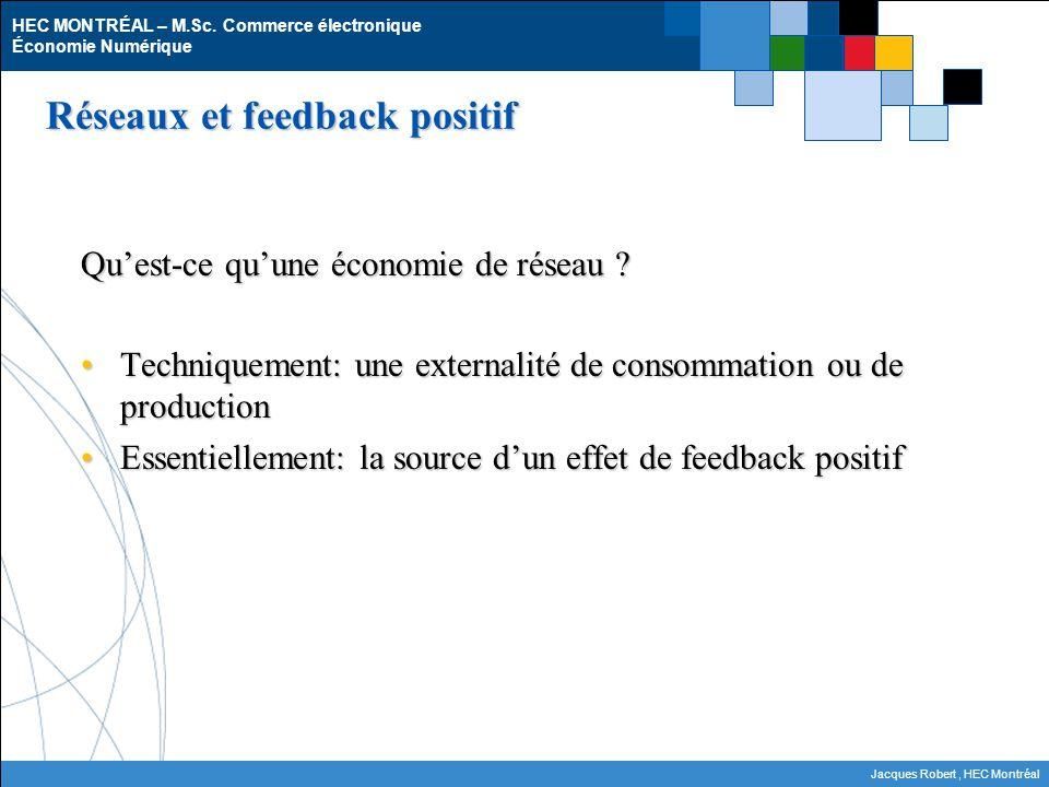 HEC MONTRÉAL – M.Sc. Commerce électronique Économie Numérique Jacques Robert, HEC Montréal Réseaux et feedback positif Quest-ce quune économie de rése