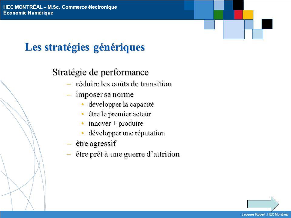 HEC MONTRÉAL – M.Sc. Commerce électronique Économie Numérique Jacques Robert, HEC Montréal Les stratégies génériques Stratégie de performance –réduire