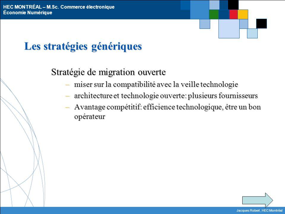 HEC MONTRÉAL – M.Sc. Commerce électronique Économie Numérique Jacques Robert, HEC Montréal Les stratégies génériques Stratégie de migration ouverte –m