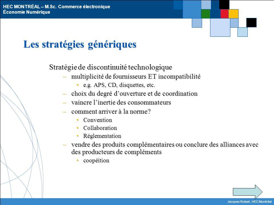 HEC MONTRÉAL – M.Sc. Commerce électronique Économie Numérique Jacques Robert, HEC Montréal Les stratégies génériques Stratégie de discontinuité techno